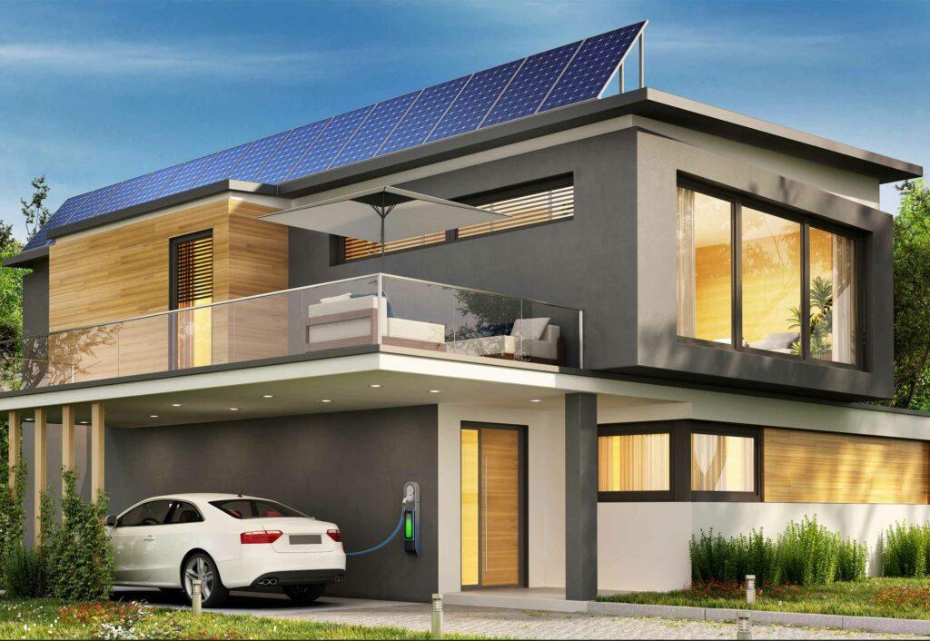 Haus mit PV-Anlage, Wallbox